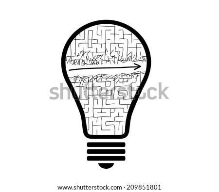 Conceptual image with drawn light bulb and labyrinth