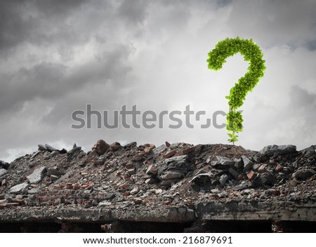 Conceptual image with green question mark growing on ruins - stock photo