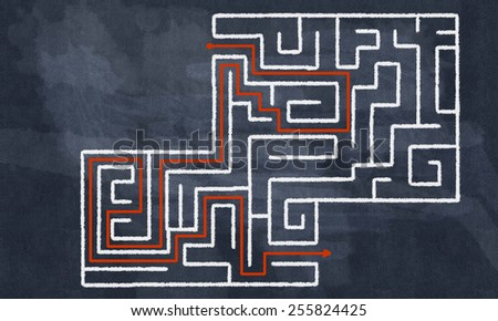 Conceptual image with hand drawn labyrinth pattern