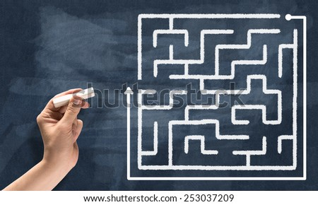 Conceptual image with hand drawning labyrinth pattern