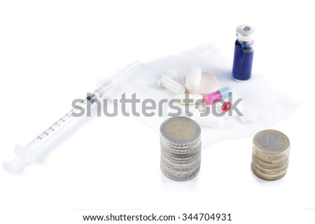 conceptual image with medicine and money. Business Pharmacy