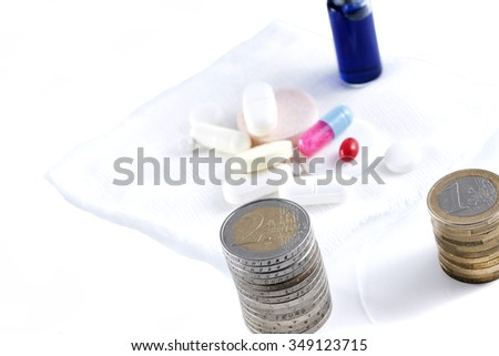 conceptual image with medicine and money. Business Pharmacy;