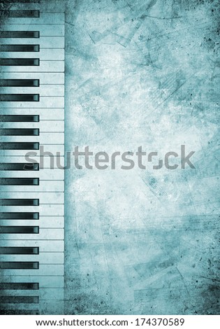 Conceptual image with piano keys and music clef - stock photo