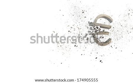 Conceptual image with stone broken euro sign - stock photo