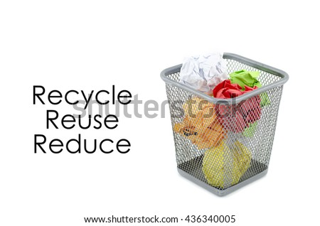 """conceptual image with word """"RECYCLE, REUSE, REDUCE"""" over crumple paper in metal dustbin and isolated white background - stock photo"""