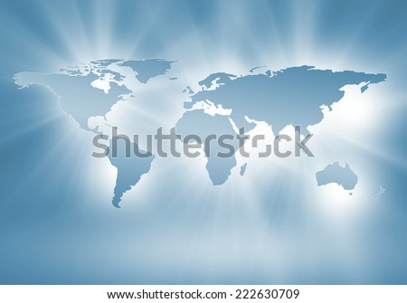 Conceptual image with world map. Globalization and interaction - stock photo