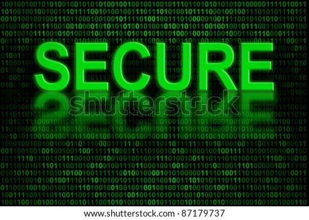 Conceptual indicator of software code or digital data that is secure and not afflicted by any computer virus or malware - stock photo