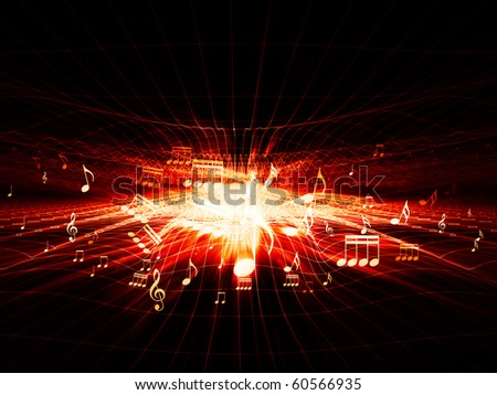Conceptual interplay of grids, lights and musical symbols on the subject of entertainment, space, light and movement. - stock photo