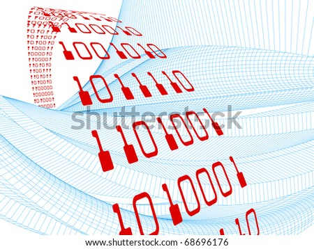 Conceptual interplay of perspective lines, shapes and symbols on the subject of business transactions, data processing, telecommunications and Internet. - stock photo