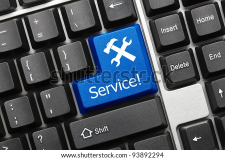 Conceptual keyboard - Service (blue key) - stock photo