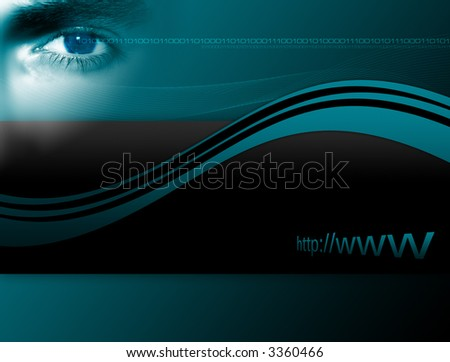 Conceptual layout about internet security with different graphical elements and close-up of an eye.