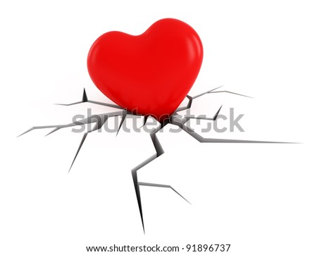 conceptual love image, heart moving down on broken surface - stock photo