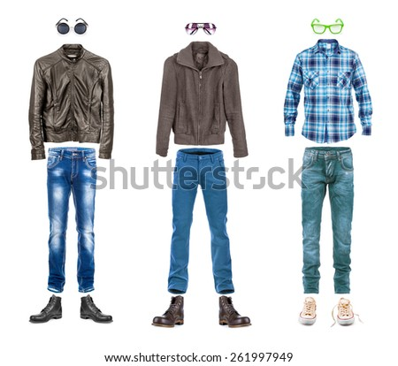 conceptual menswear collection street style isolated on white - stock photo