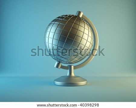 Conceptual metallic wired Earth globe - 3d render