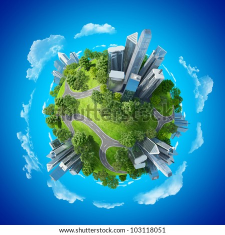 Conceptual mini planet green parks along with skyscrapers and roads. Calmness in city chaos. One of a series. - stock photo
