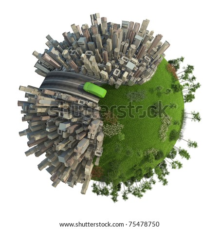 conceptual miniature planet for environmental change and green energy transportation isolated and with clipping path - stock photo