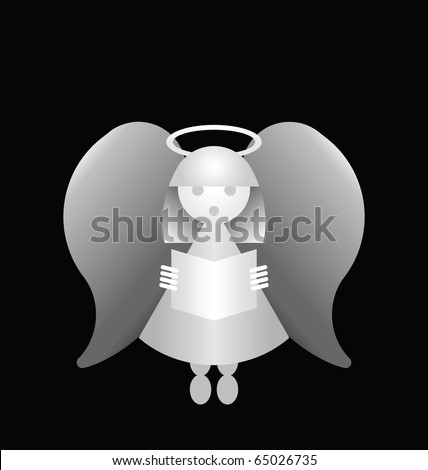 Conceptual monochrome angel isolated on a black background - stock photo