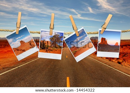 Conceptual Montage Representing Vacation Travel With instant Photos of Moument Valley Desert Hanging on a Rope - stock photo