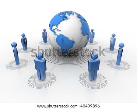 Conceptual network of people surrounding Earth globe