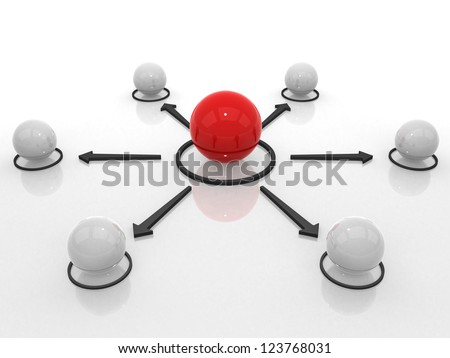 Conceptual network of spheres- 3d render - stock photo