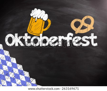Conceptual Octoberfest Text with Mug of Beer and Pretzels Drawing Design on Black Chalkboard. - stock photo