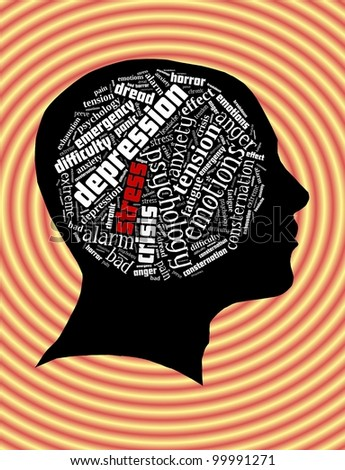 Conceptual of Stress in Word Collage - stock photo