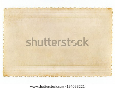 Conceptual old retro paper background isolated on white - stock photo