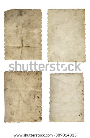 Conceptual old vintage dirty, grungy paper background set, collection isolated on white background ideal for antique, grunge, texture, retro, aged, ancient, dirty, frame, manuscript, material designs