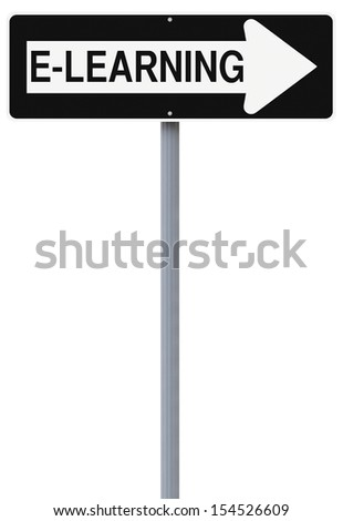 Conceptual one way road sign on e-learning  - stock photo