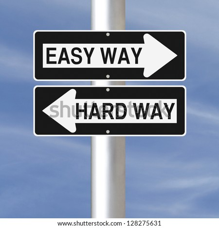 Conceptual one way road signs on choice and decisions - stock photo