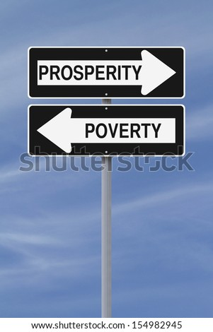 Conceptual one way street signs on prosperity and poverty