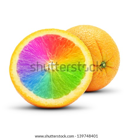 Conceptual orange composition. Isolated on white background. - stock photo