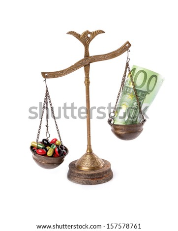 Conceptual photo: high cost of medicine.Old scale isolated white - stock photo