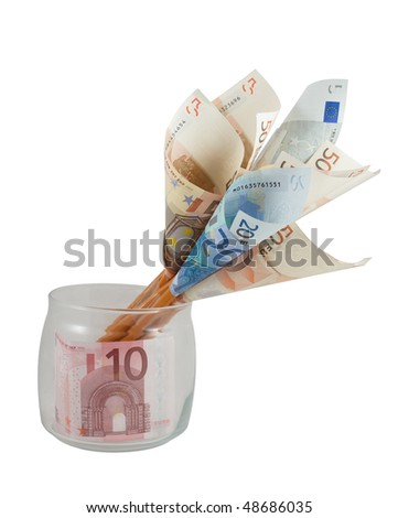 Conceptual photo - money flowers made from euro banknotes, isolated over white - stock photo