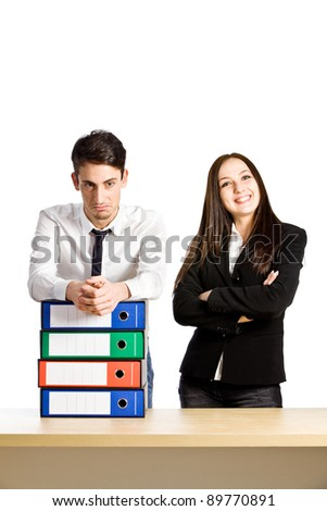 conceptual photo of employees having promotion on white