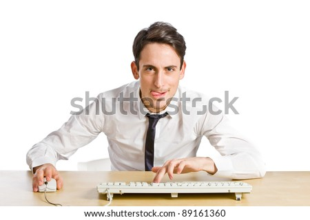 conceptual photo of man sitting at his desk and concentrating