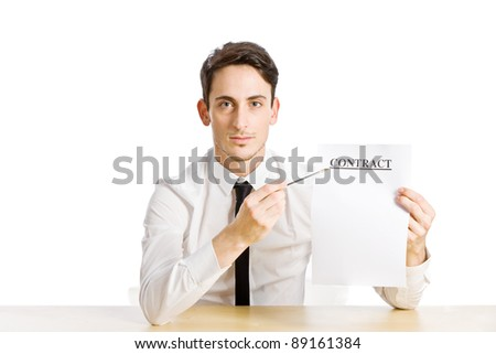 conceptual photo of man with contract on white background - stock photo
