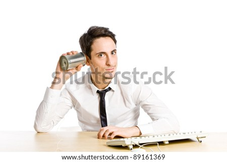 conceptual photo of man with tin phone who is pending