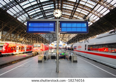 Conceptual photo of message board in railway station : don't miss the train to success ! - stock photo