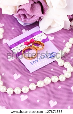 Conceptual photo: wedding in violet color style