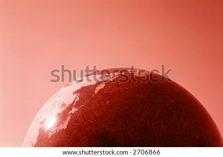 Conceptual photograph of Earth model to illustrate global warming