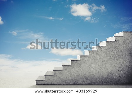 Conceptual photography of stairs in a bright cloudy sky, side view - stock photo