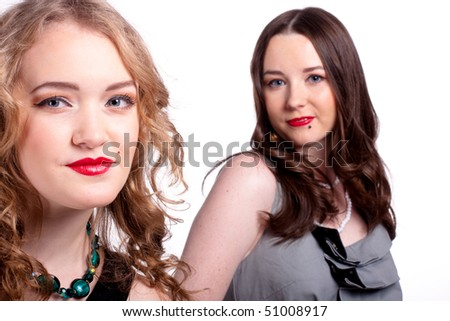 conceptual picture about female friendship - stock photo