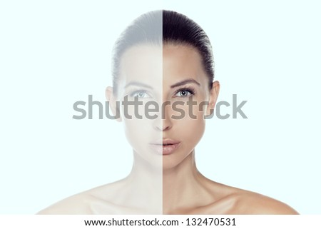 Conceptual portrait of beautiful brunette woman with amazing eyes looking at camera. Front view.