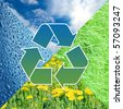 Conceptual recycling sign with images of nature - stock photo