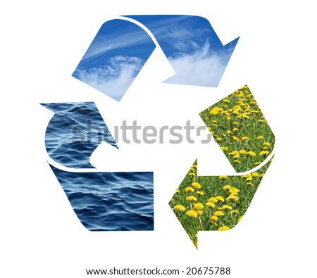 Conceptual recycling sign with images of nature, isolated on white. - stock photo