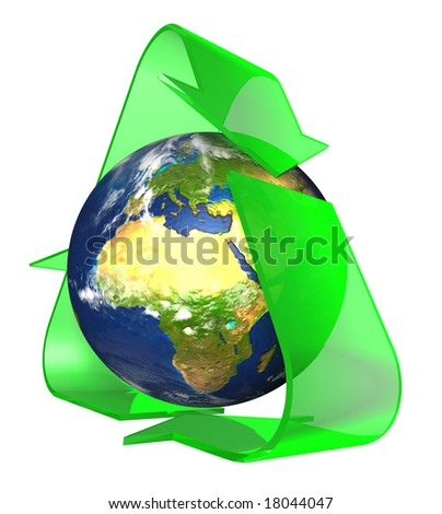 Conceptual Recycling Symbol - stock photo