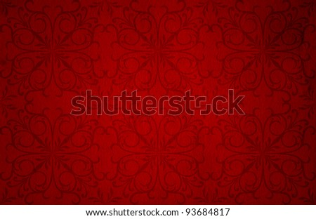 Conceptual red old paper background, made of grungy or vintage texture stained or dirty surface ideal for holiday, Christmas or retro designs with a pattern, decoration or ornament printed - stock photo