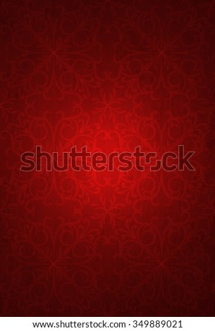 Conceptual red old paper background, made of grungy vintage texture stained or dirty surface banner  ideal for holiday, Christmas, decoration or retro design with a pattern decoration ornament printed - stock photo