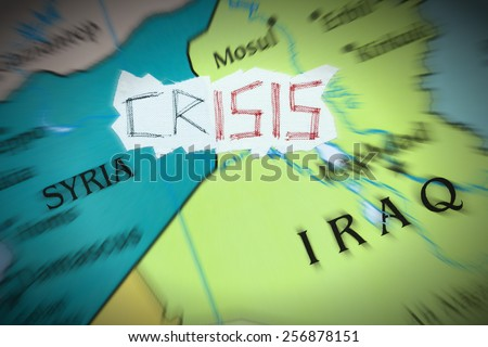 Conceptual representation of the crisis caused by the Islamic State - stock photo